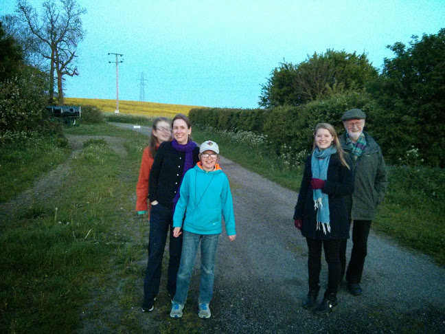 Walking in the countryside around Cambridge with our hosts.